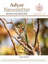 Adyar Newsletter Feb 2020 Cover Image